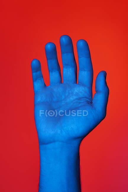 Main bleue d'homme avec la paume ouverte sur fond rouge. Photo verticale isolée — Photo de stock