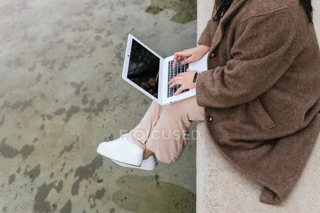 Da sopra vista laterale del raccolto anonimo plus size femminile navigazione internet su netbook con schermo nero sopra stagno in città — Foto stock
