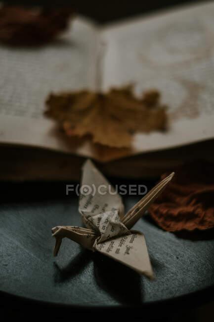 Сверху бумажного оригами, представляющего птицу возле учебника с выцветшим кленовым листом в доме — стоковое фото