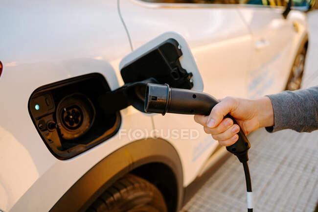 Vue latérale de l'homme méconnaissable recadré tenant le câble pour brancher et recharger la voiture électrique moderne dans la station-service dans la journée — Photo de stock