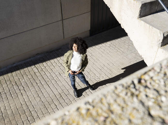 From above of expressive young black lady with Afro hairstyle in stylish clothes standing on paves street and smiling on sunny day — Stock Photo