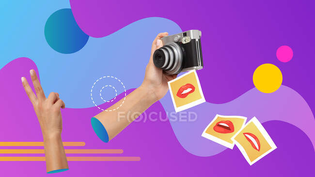 Conceptual contemporary art collage. Hand holding and instant camera taking selfie pictures. — Stock Photo