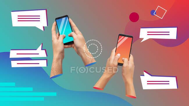 Collage d'art contemporain conceptuel. Hommes et femmes mains tenant smartphones textos. — Photo de stock