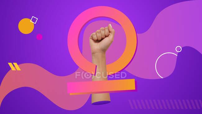 Symbole du féminisme fait mélange photographie et techniques de conception graphique. Collage d'art contemporain conceptuel. — Photo de stock