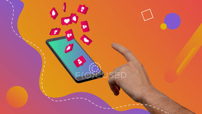 Conceptual contemporary art collage. Concept of social media interaction. Hand tapping a smartphone. — Stock Photo