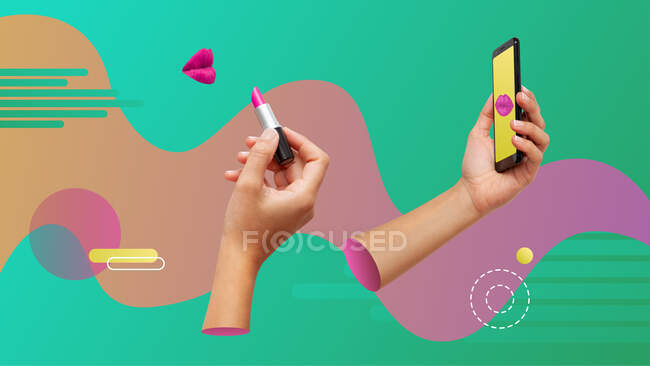 Conceptual contemporary art collage. Woman using a smartphone as a mirror and making up on. — Stock Photo