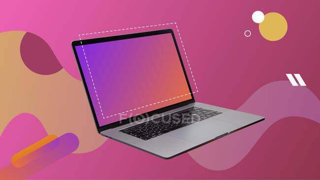 Collage d'art numérique contemporain. Ordinateur portable ouvert en arrière-plan rose avec écran vide. — Photo de stock