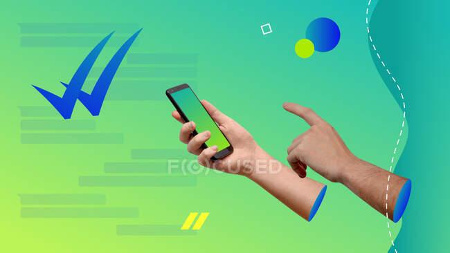 Collage d'art contemporain conceptuel. Mains tenant un smartphone et textos. Double contrôle du concept de message de lecture. — Photo de stock