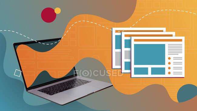 Collage de arte contemporáneo conceptual. Ventanas y etiquetas abiertas procedentes de una pantalla portátil. - foto de stock