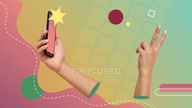 Collage d'art contemporain conceptuel. Représentation d'une action photo selfie. Deux mains utilisant la caméra avant du smartphone pour prendre une photo selfie. — Photo de stock