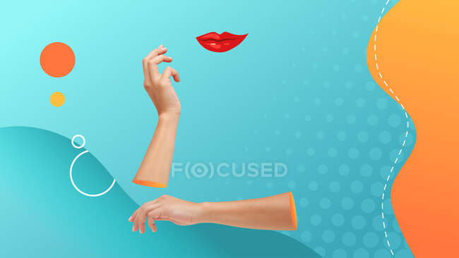 Conceptual contemporary art collage. Female acting for posing for a picture. Hands holding an invisible head. — Stock Photo