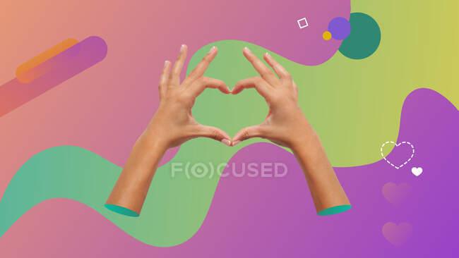 Collage concettuale di arte contemporanea. Due mani femminili facendo una forma di cuore con le dita. — Foto stock