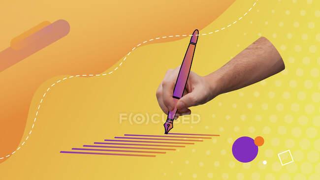 Collage d'art contemporain conceptuel. Écriture à la main tenant un stylo vecteur. Ecrire la représentation visuelle du concept. — Photo de stock