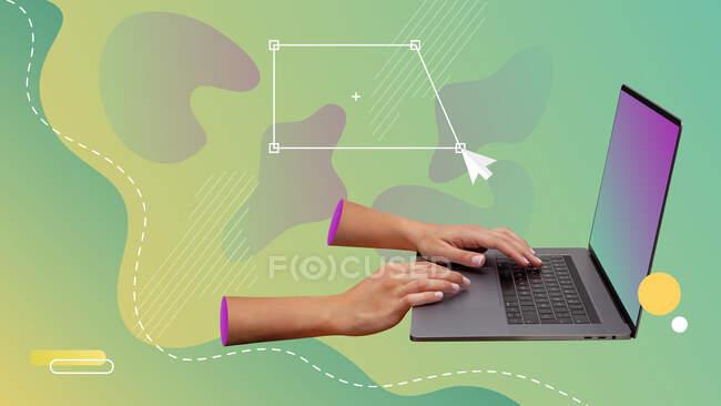 Collage de arte contemporáneo conceptual. Manos dibujando un cuadrado vectorial en una computadora. - foto de stock