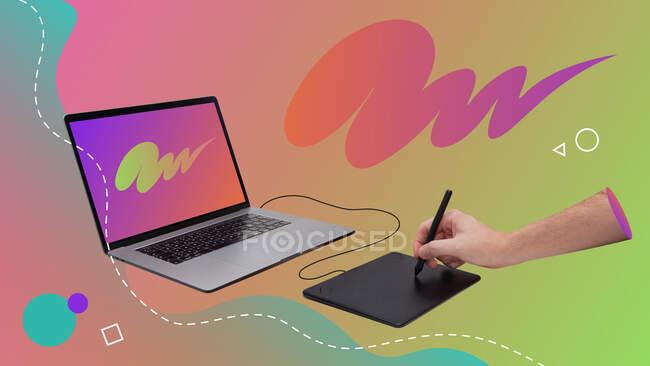 Collage de arte contemporáneo conceptual. Dibujo a mano en una tableta gráfica conectada a un ordenador portátil. - foto de stock