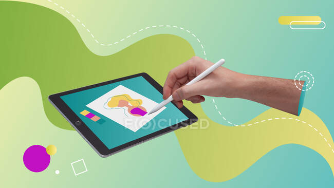 Conceptual contemporary art collage. Hand drawing in a tablet with a smart pen book. — Stock Photo