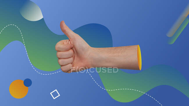 Collage d'art contemporain conceptuel. Thumbs up concept représenté avec une vraie main dans un fond graphique. — Photo de stock