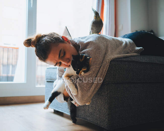 Side view of young lady in casual clothes lying down on comfortable couch playing with adorable calico cat in modern apartment — Stock Photo