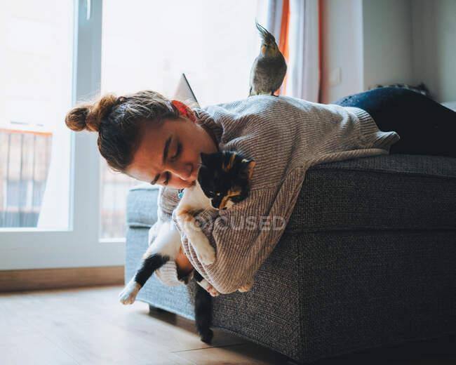 Вид сбоку барышни в повседневной одежде, лежащей на удобном диване и играющей с восхитительной калико-кошкой в современной квартире — стоковое фото