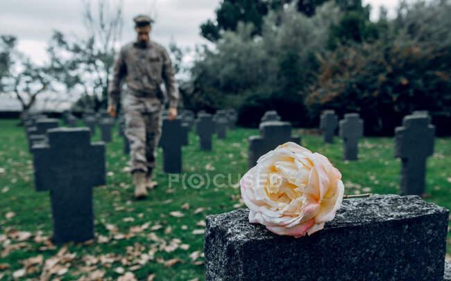 Cuerpo completo de luchador masculino honrando la memoria del héroe murió durante la guerra en la tumba con flores en el cementerio - foto de stock