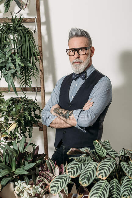 Self assured mature male entrepreneur with tattoo and folded arms looking at camera at home with assorted plants — Stock Photo