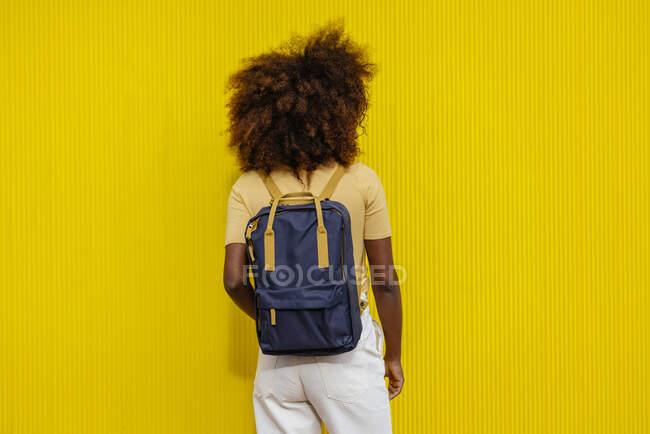 Погляд на чорну жінку з волоссям афро з рюкзаком на спині. — стокове фото