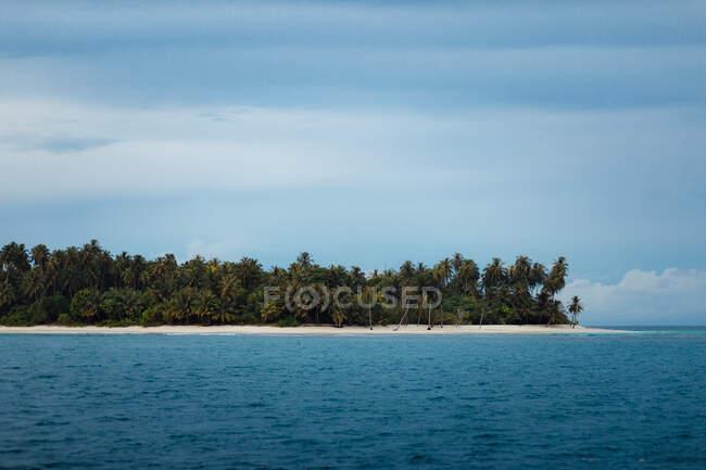 Pittoresca veduta dell'idilliaca isola con alberi verdi tropicali sulla spiaggia di sabbia circondata dal mare blu contro il cielo limpido in Indonesia — Foto stock