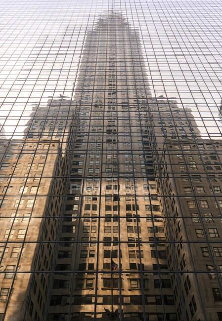 Dal basso contemporaneo grattacielo di vetro alto situato nel centro della città urbana di New York — Foto stock