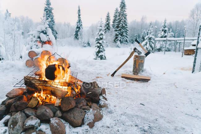 Théière placée sur un feu de joie sur un champ enneigé près de conifères contre un ciel nuageux au coucher du soleil en hiver — Photo de stock