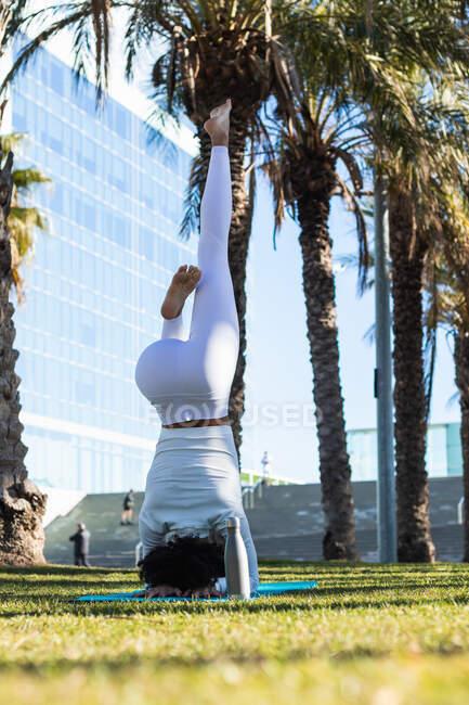 Полное тело безликой босиком женщины практикующей Поддерживаемая стойка на голове с орлиными ножками для улучшения баланса во время тренировки йоги — стоковое фото