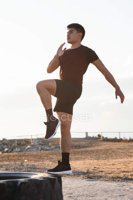 Full body side view of determined young Asian male in sportswear performing step knee raise exercise on tire during outdoor fitness workout — Stock Photo