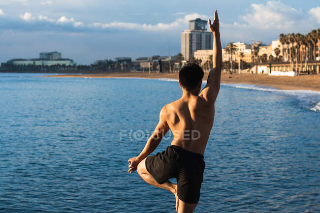 Обратный вид мускулистого мужчины без рубашки, исполняющего вариацию позы дерева с жестом мудры во время занятий йогой на городской набережной — стоковое фото