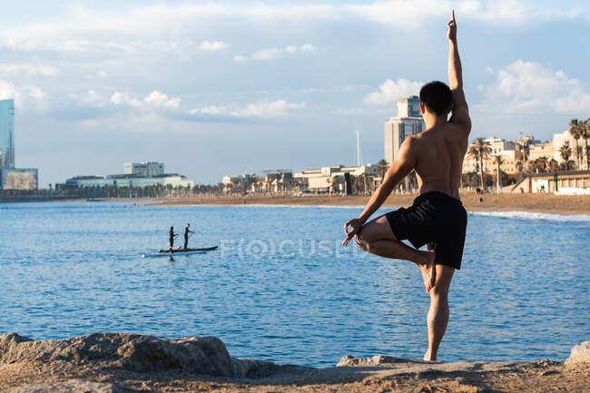 Полный задний вид тела безрубашечного мускулистого мужчины, выполняющего вариацию позы дерева с жестом мудры во время занятий йогой на городской набережной — стоковое фото