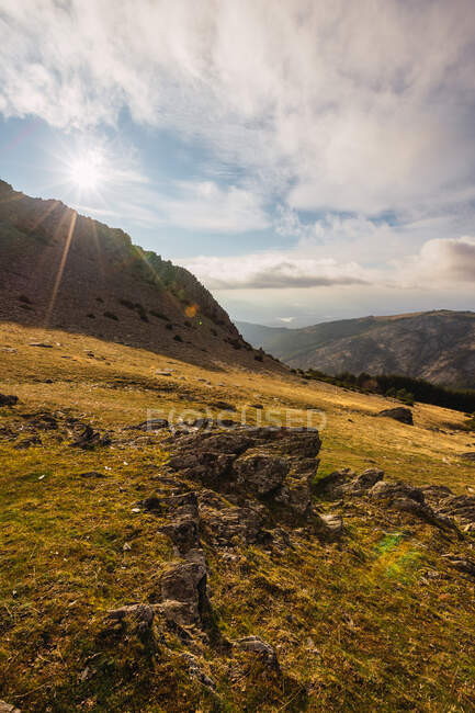 Rough slope land in mountains in Spain on sunny day — Stock Photo