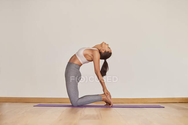 Side view of flexible female in sportswear performing Ustrasana pose while practicing yoga and looking up in room — Stock Photo