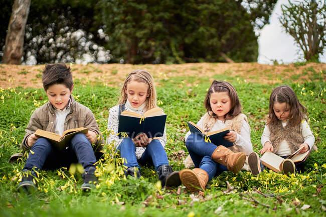 Enfants intelligents assis sur la colline verte dans le parc et lire des livres intéressants tout en profitant week-end ensemble — Photo de stock