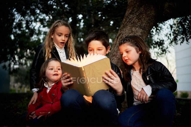 Низкий угол у группы веселых детей, читающих интересную сказку в книге, светящейся ярким светом, стоя вместе в вечернем парке — стоковое фото
