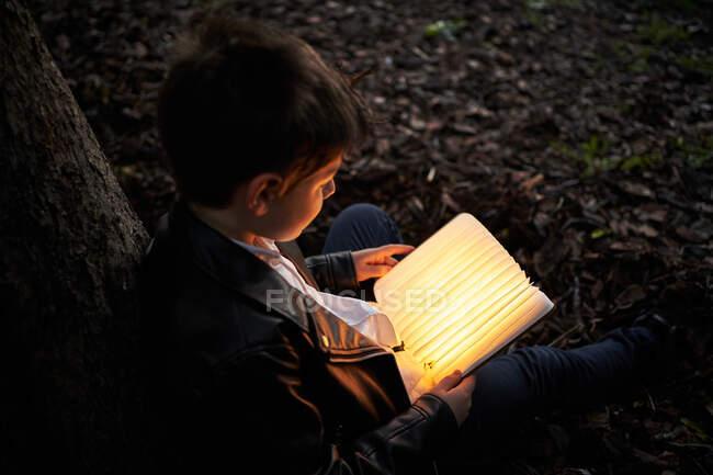 З іншого боку, розумна дитина сидить біля дерева у парку ввечері і читає книжку, що світиться яскравим світлом. — стокове фото