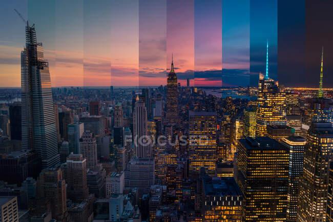Сучасний багатоетапний будівельний фасад під яскравим хмарним небом на заході сонця в Нью - Йорку. — стокове фото