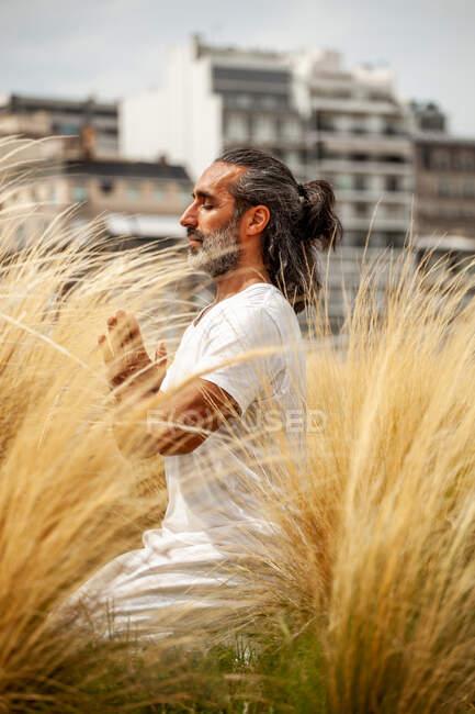 Небритый латиноамериканец в белой одежде сидит с закрытыми глазами во время медитации среди золотой травы при дневном свете — стоковое фото