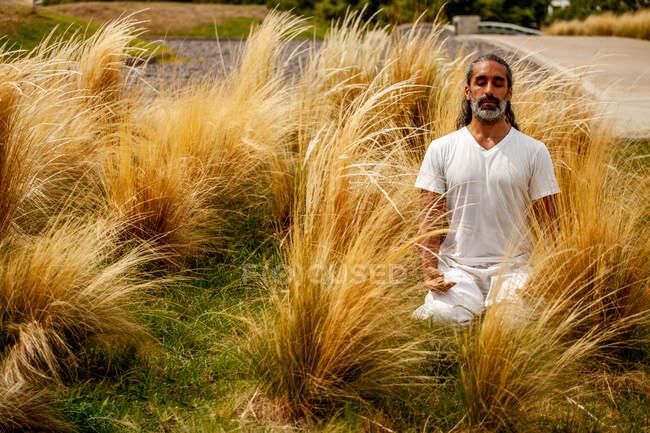 Unrasierter hispanischer Mann in weißer Kleidung sitzt mit geschlossenen Augen während der Meditation zwischen goldenem Gras im Tageslicht — Stockfoto