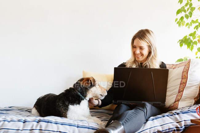 Zufriedene Hündin mit Netbook streichelt niedlichen Hund, während sie mit gekreuzten Beinen auf weichem Bett im Haus sitzt — Stockfoto