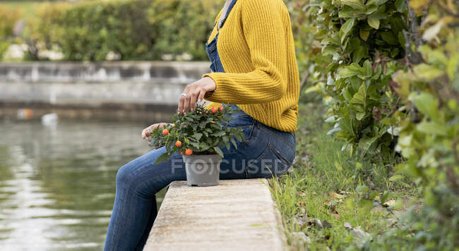 Side view of anonymous black female sitting near pond in park with potted plant — Stock Photo