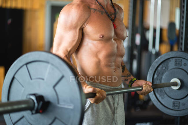 Recortado irreconocible atleta masculino fuerte levantando pesadas pesadas barras mientras gritaba durante el entrenamiento en el gimnasio - foto de stock