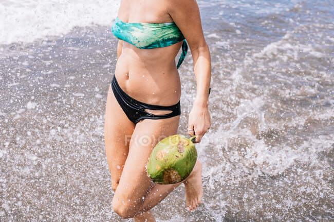 Cropped unrecognizable female with green coconut running in clean water on sea while resting on tropical beach in summer — Stock Photo