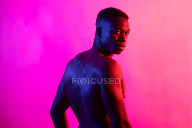Serious young African American male athlete with naked torso looking at camera on pink background in neon studio — Stock Photo