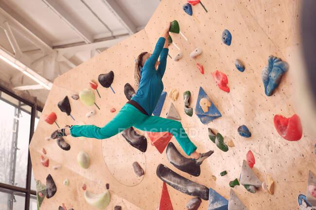 Низкий угол заднего вида безымянной спортсменки, лазающей по искусственной стене во время боулдеринга в профессиональном спортзале — стоковое фото