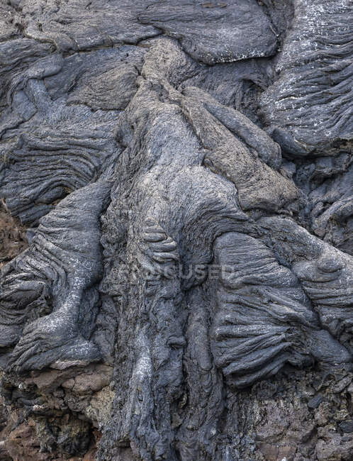 Close-up solidified magma rivers of the volcano Fagradalsfjall in Iceland on a cloudy day — Stock Photo