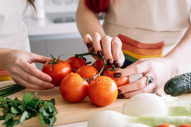 Нерозбірливі жінки, що стоять за столом зі свіжими овочами для здорового салату під час обіду на кухні. — стокове фото