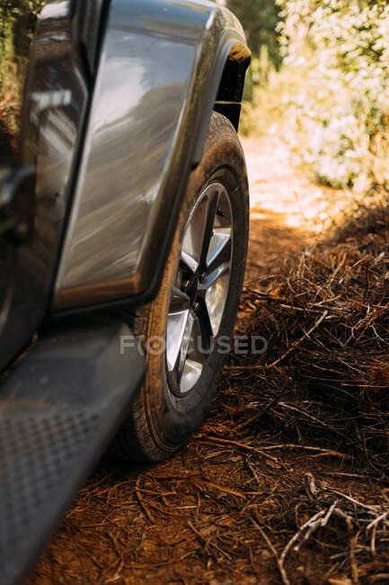 View of an off-road car wheel on a road on a sunny day — Stock Photo